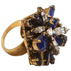 Erickson Beamon Blue/Clear 'Queen Bee' Ring