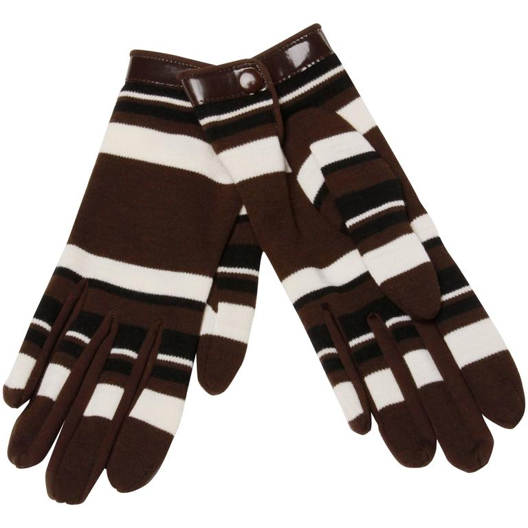 1960s Pierre Cardin Brown Black Striped Wool Gloves with Vinyl Trim 1