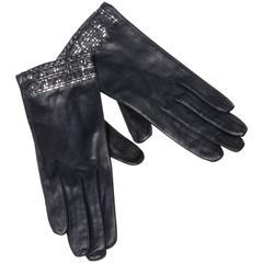 1970s Christian Dior Vintage Navy Blue Kidskin Leather Gloves with Silk Lining