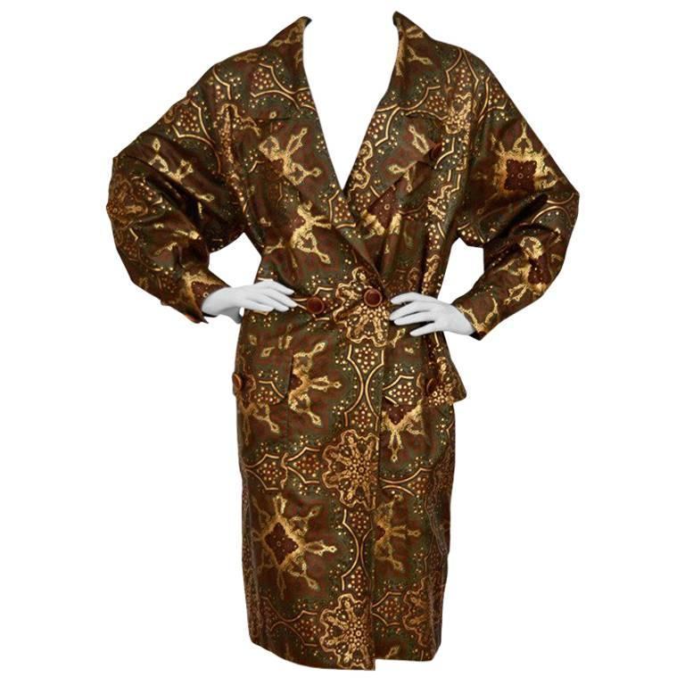 YSL YVES SAINT LAURENT  Silk Trench Coat Wood Buttons  Mint