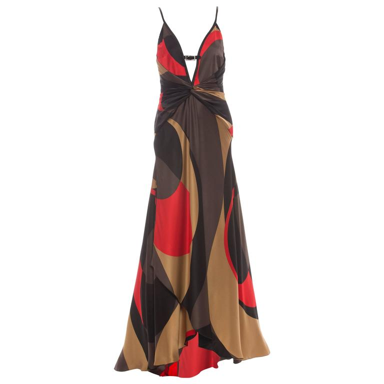 Valentino Silk Black Red Gold Brown Graphic Evening Dress With Crystal Buckle  For Sale