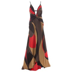 Valentino Graphic Printed Silk Evening Dress