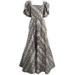 1980s LEONARD-PARIS vibrant brocade print gown