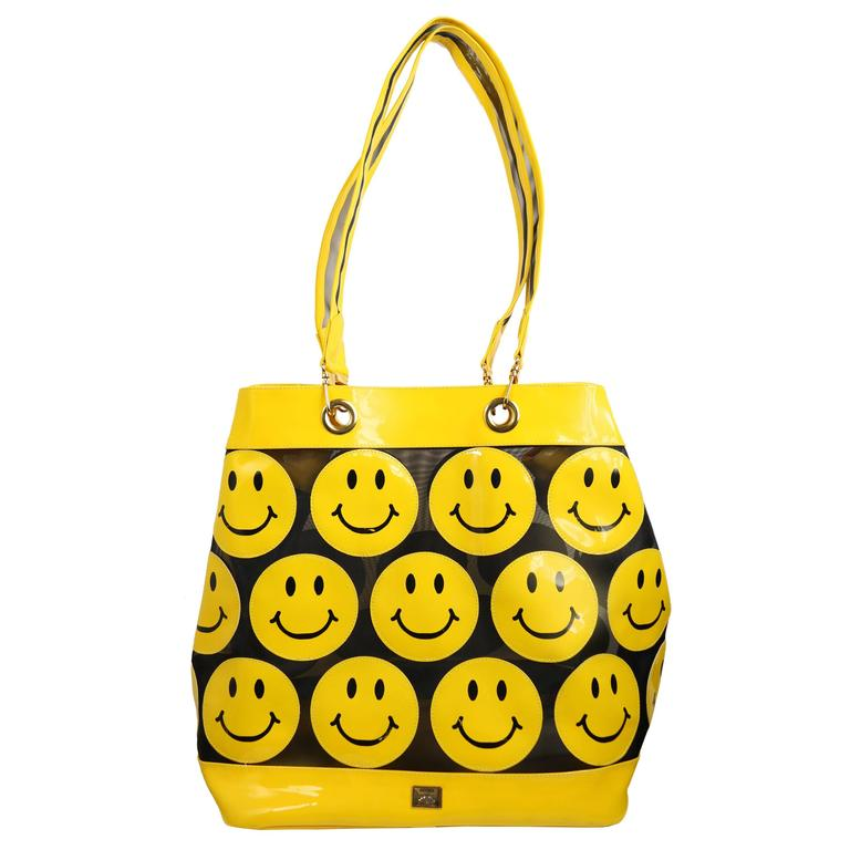 Moschino Yellow Smiley Face Patent Mesh Tote Bag For Sale