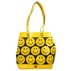 Moschino Yellow Smiley Face Patent Mesh Tote Bag