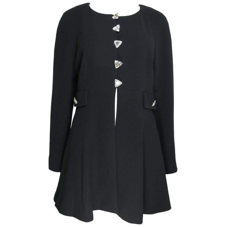 Rochas Black Boucle Wool Coat