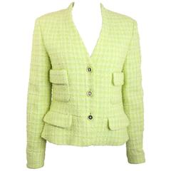 Chanel Green Cropped Tweed Jacket