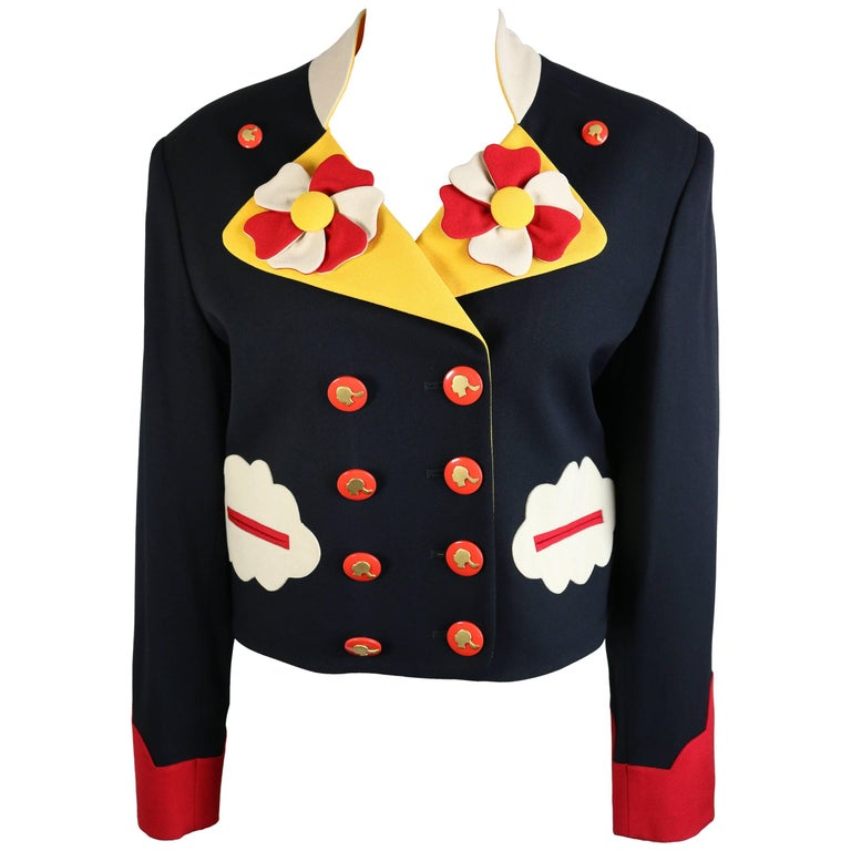 Moschino Double Breasted Cropped Jacket For Sale