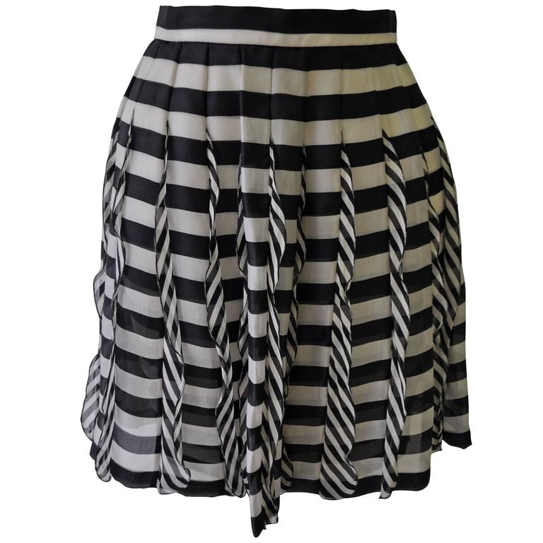 Very Rare Atelier Versace Nautical Vertical Silk Frill Horizontal Stripe Skirt