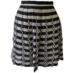 Very Rare Atelier Versace Nautical Vertical Silk Frill Horizontal Stripe Skirt