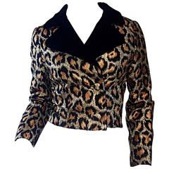 Late 50s / Early 60s Leopard Cheetah Print Silk Metallic Cropped Bolero Jacket