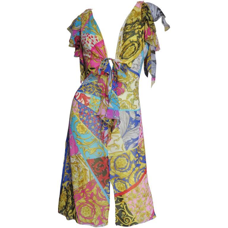 1990s Gianni Versace Silk Scarf Print Plunge Dress