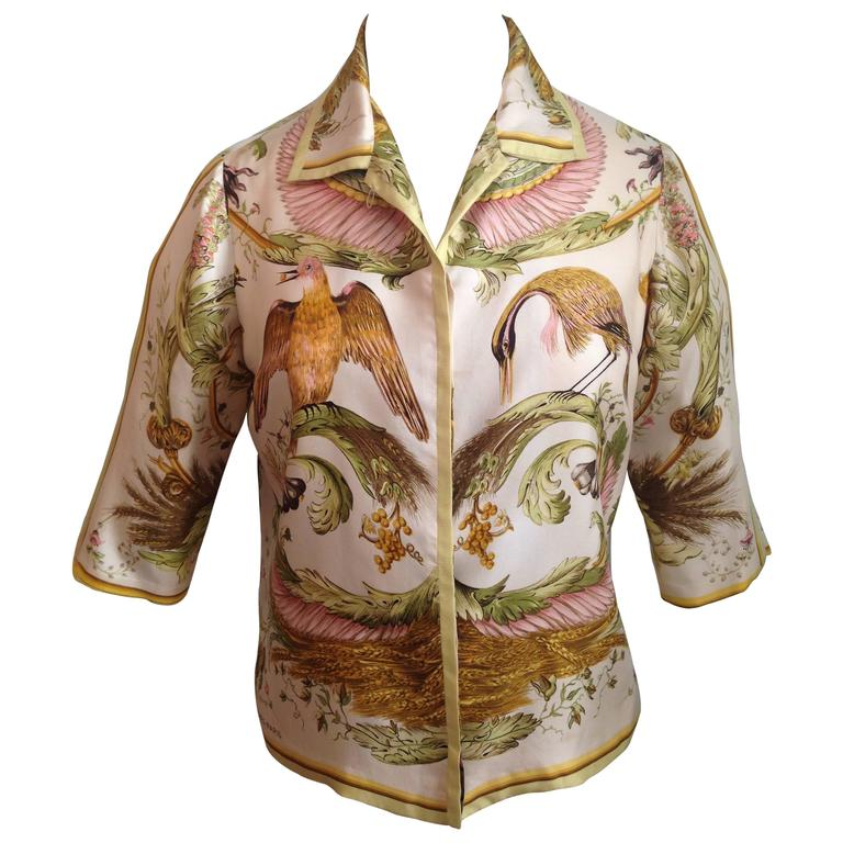 Hermes Silk 'Ceres' Print Blouse Shirt 1960s For Sale