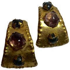 1990's HERVE VAN DER STRAETEN Goldtone and Amethyst Earrings