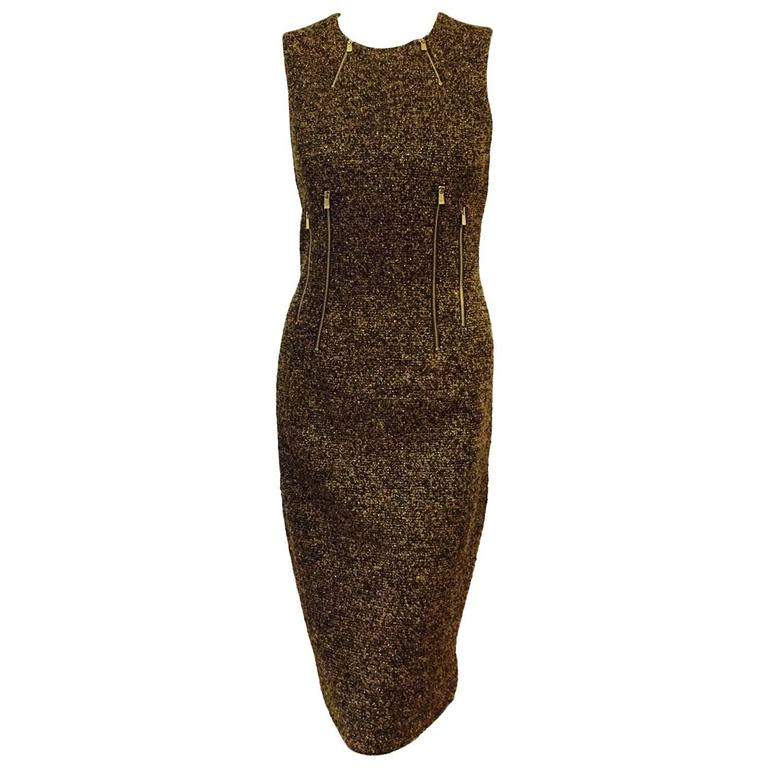 f2f057d9db68 Michael Kors Made in Italy Gold Metallic Boucle Sheath With Zipper Detail  For Sale