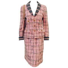 Vintage Adolfo Flamingo Pink Wool Boucle Skirt Suit w. Matching Shoulder Bag