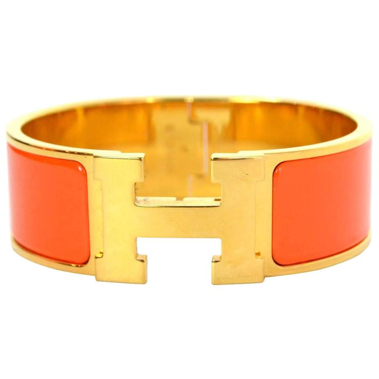 Hermes Orange Enamel Wide H Clic Clac PM Bracelet GHW 1
