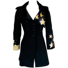 Christian LaCroix Long Jacket Black Velvet Embroidery Lace Sequins Stars 80s 38