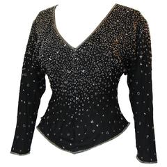 70s Halston Black Silk Blouse with Beads Sequins Evening Wear Montaldo's Size M