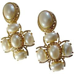 "Massive 3"" Long Faux Pearl & Gold Metal Statement Earrings by St. John 1990s"
