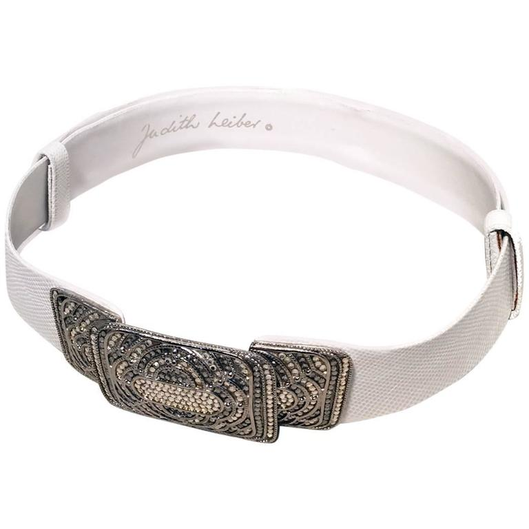 Judith Leiber Vintage White Leather Silver Rhinestone Buckle Belt 1