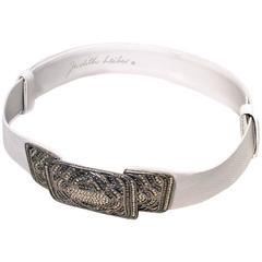 Judith Leiber Vintage White Leather Silver Rhinestone Buckle Belt
