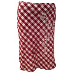 Moschino Skirt - Red and White Table Cloth Pattern with Floral Applique