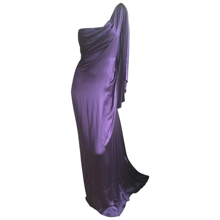 Jackie Rogers Amethyst SIlk Charmeuse One Shoulder Godess Dress 1