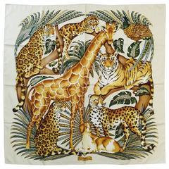 New Salvatore Ferragamo Ivory 100% Silk Twill Safari Scarf