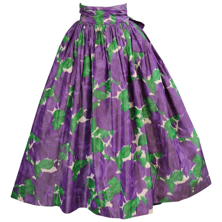 Yves Saint Laurent Couture Silk Taffeta Lavender Cabbage Roses Evening Skirt  For Sale