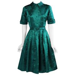 1950's Saks Fifth Avenue Emerald Green Silk Dress