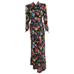 1930's Floral Print Silk Dress & Sleeveless Jacket, Larger Size