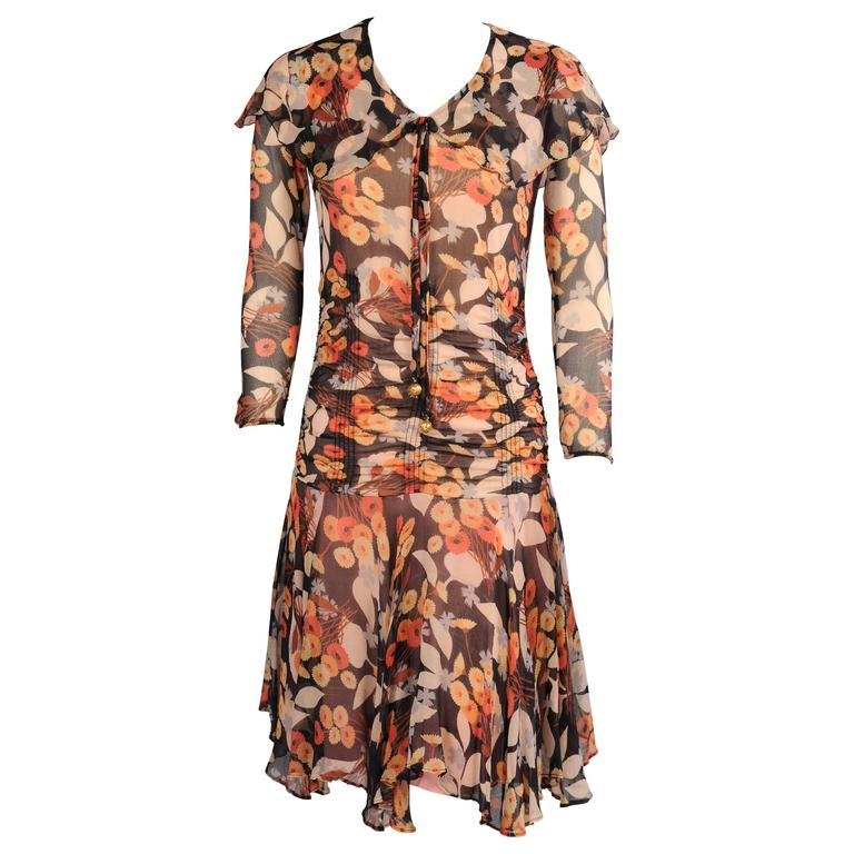 1920's Floral Print Silk Chiffon Dress