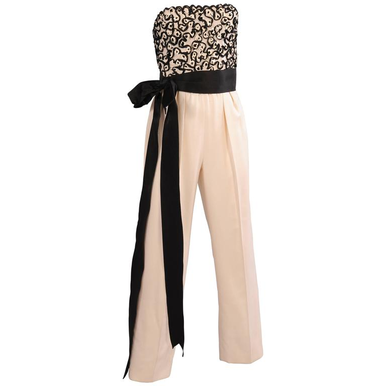 Givenchy Haute Couture Beaded, Strapless Jumpsuit with Jacket For Sale