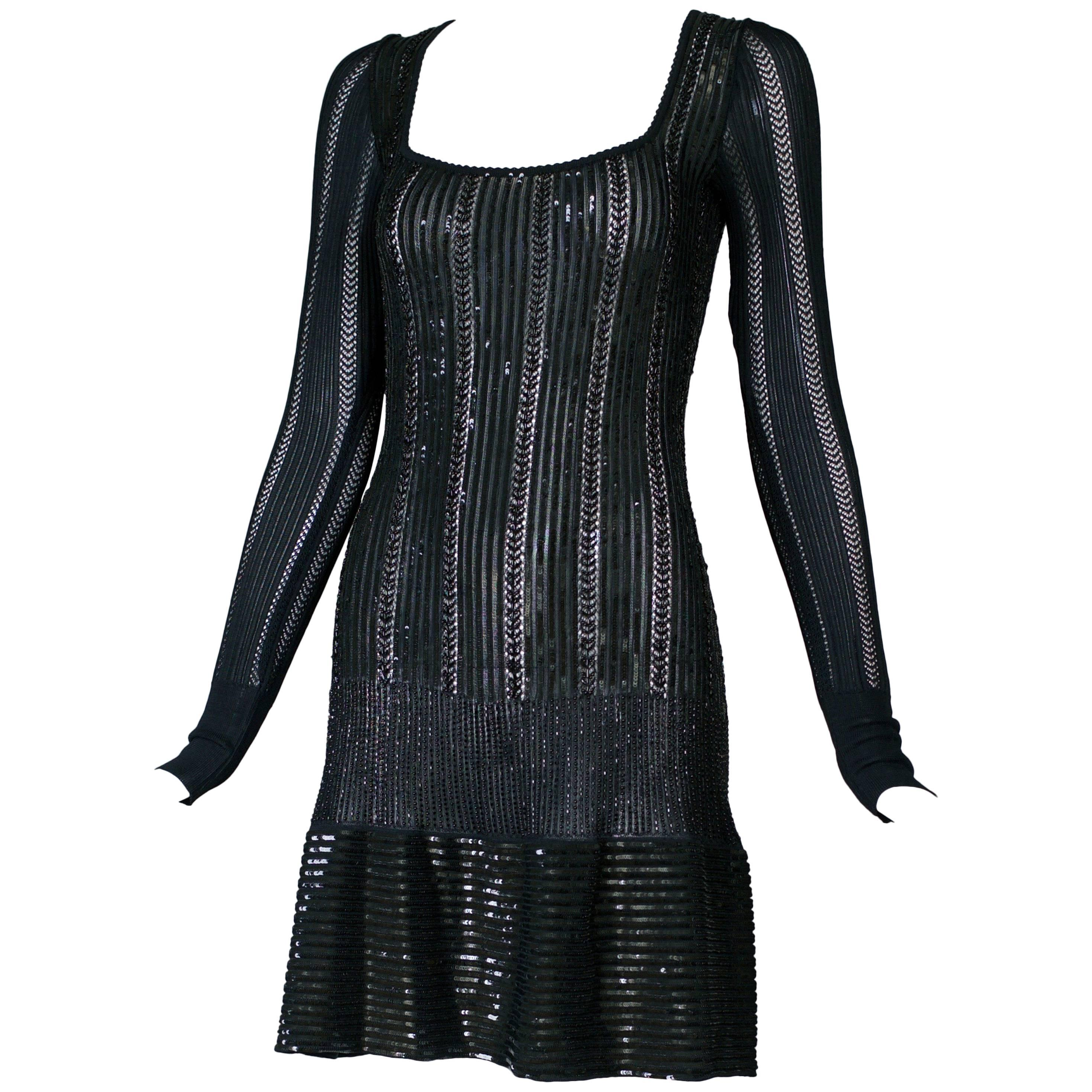 Azzedine Alaia Black BodyCon Beaded and Sequined Cocktail Dress, circa 1996