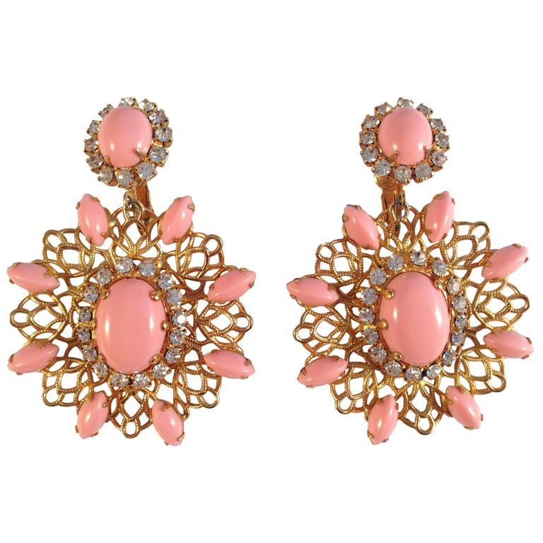 Amazing 1960s Kenneth Jay Lane Pink Chandelier Earrings For Sale