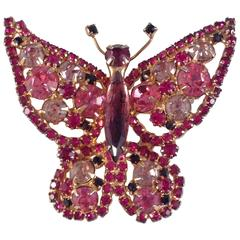 Alice Caviness Brooch 1960s Pink Rhinestone Butterfly