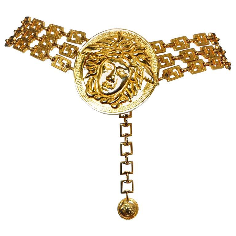 Versace Gold Medusa Belt  For Sale