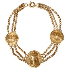 1980s Gianni Versace triple romanesque medallion necklace by Ugo Correani