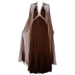 Vintage 1970s brown silk chiffon sheer cape gown with jeweled neckline
