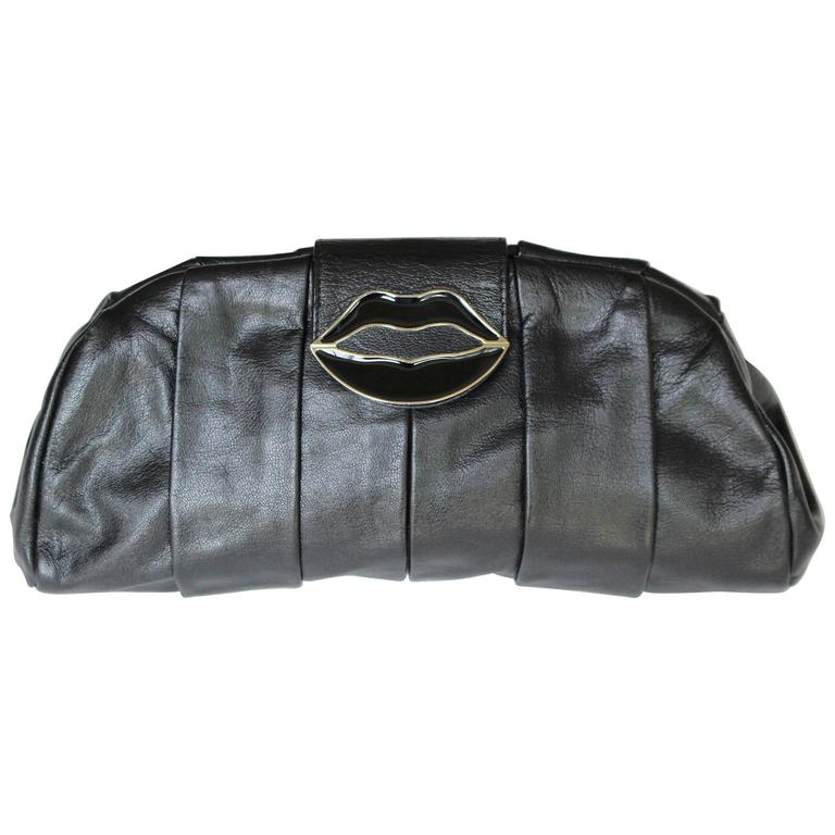 3e498c484a Yves Saint Laurent Black Dali Lips Clutch YSL 2003 Tom Ford Era Collectors  For Sale at 1stdibs