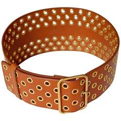 Yves Saint Laurent Leather Grommet Belt