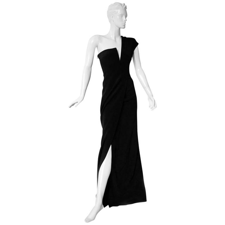 KaufmanFranco Asymmetric One Shoulder Sculptural Gown Runway  New For Sale