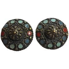 1990's Jean Paul Gaulthier Medieval style Large Enameled Jewels  Earrings