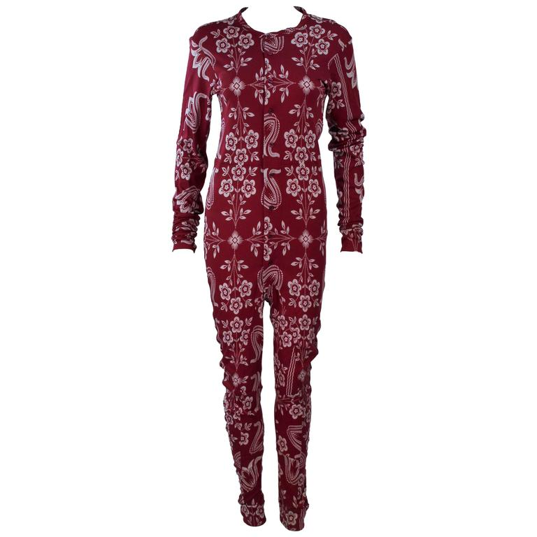 JOHN GALLIANO Burgundy Patterned Onesie Size 6