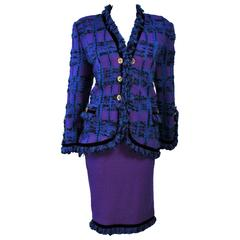 ADOLFO Purple Stretch Boucle Knit Skirt Suit Size 14 with Clover Buttons