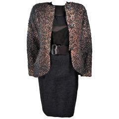 GEOFFREY BEENE Skirt Suit Ensemble with Printed Mohair Jacket Size 4-6