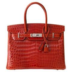 Brand New Hermès Birkin 30 Sanguine Crocodile Niloticus Lisse