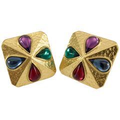 Yves Saint Laurent Gripoix Gold-Plated Earrings, by Robert Goossens - 1980s