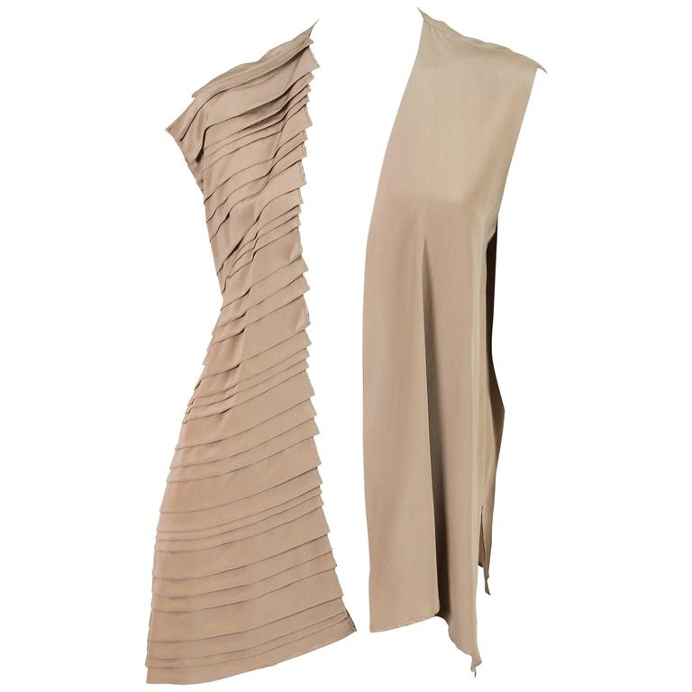Gianfranco Ferre Minimalist Pleated Silk Vest